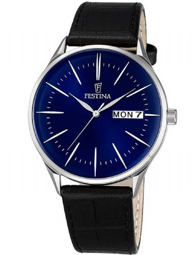 F6837/3 Festina Mens Blue Round Leather Strap Watch
